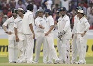 Indian cricketers celebrates after successfully catching out New Zealander James Franklin. India defeated New Zealand by an innings and 115 runs on the penultimate day of the opening Test in Hyderabad to gain a 1-0 lead in the two-match series