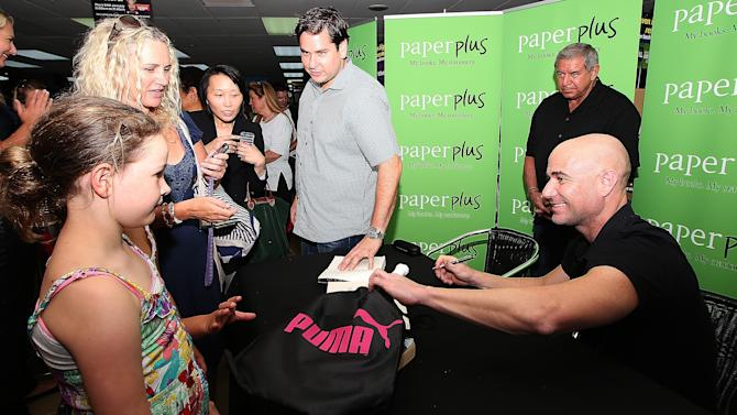 Andre Agassi Signs Copies Of His Autobiography, Open