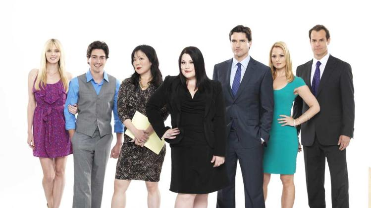 "April Bowlby, Ben Feldman, Margaret Cho, Brooke Elliott, Jackson Hurst, Kate Levering and Josh Stamberg star in season three of ""Drop Dead Diva."""