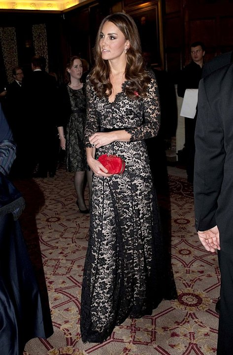 Also looking lovely this week was Catherine, Duchess of Cambridge, who garnered oohs and aahs upon arriving at a recent charity dinner in this lacy long-sleeved gown -- courtesy of Temperley London. A