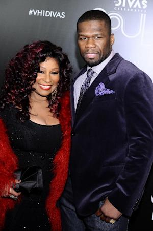 """Chaka Khan, left, and 50 Cent arrive at """"Vh1 Divas Celebrates Soul"""" on Sunday, Dec. 18, 2011 in New York. (AP Photo/Charles Sykes)"""