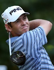 South Africa&#39;s Louis Oosthuizen tees off from the ninth hole during the final round of the Deutsche Bank Championship on September 3. He closed with an even-par 71 on the TPC Boston to finish solo in second at 19-under at the $8 mn tournament