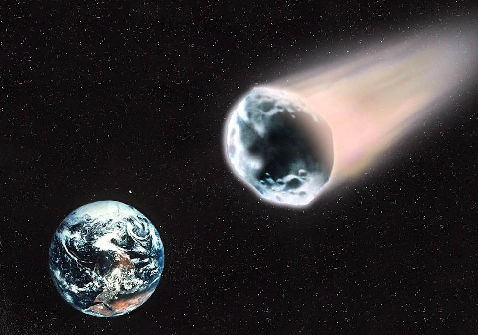 A house-sized asteroid will fly past the Earth today, closer than the moon (Image: Rex)