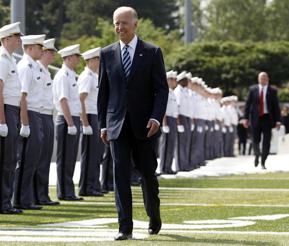 Vice President Joe Biden arrives to deliver the commencement address during a graduation and commissioning ceremony at the U.S. Military Academy in West Point, N.Y., Saturday, May 26, 2012. (AP Photo/Mike Groll)