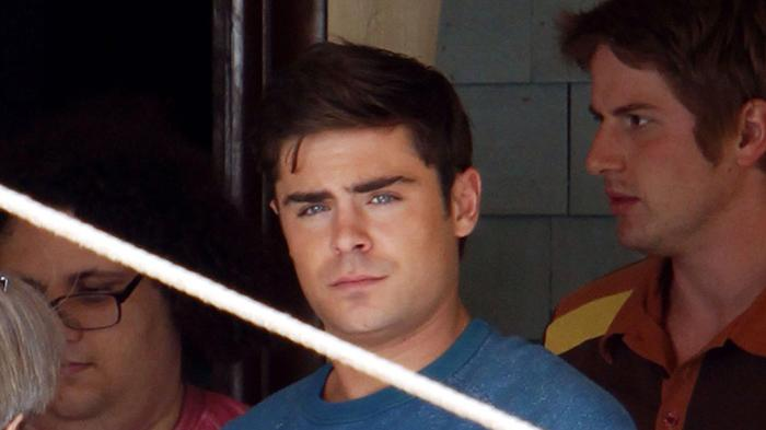 **EXCLUSIVE** Zac Efron and Dave Franco drink liquor out of teacups while filming scenes for 'Townies' in Los Angeles