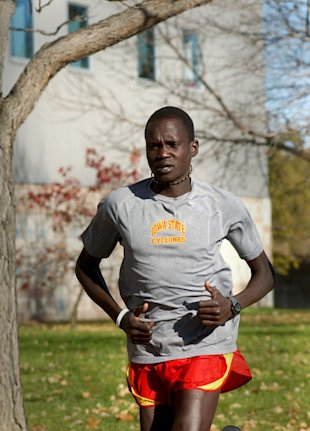 In this 2007 file photo, Guor Marial trains on the Iowa State campus where he was an All-American for the cross country team.
