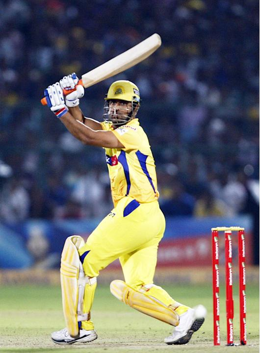 CSK captain MS Dhoni in action during the CLT20 1st Semi-Final between Rajasthan Royals and Chennai Super Kings at Sawai Mansingh Stadium in Jaipur on Oct. 4, 2013.