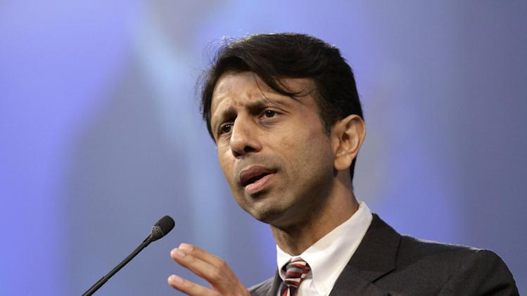 FILE - In this July 27, 2012 file photo, Louisiana Gov. Bobby Jindal speaks in Hot Springs, Ark. Republican governors who've balked at creating new consumer health insurance markets under President Barack Obama's health care law may end up getting stuck.  Instead of their state officials retaining some control over insurance issues that states traditionally manage, Washington could be calling the shots.   (AP Photo/Danny Johnston, File)