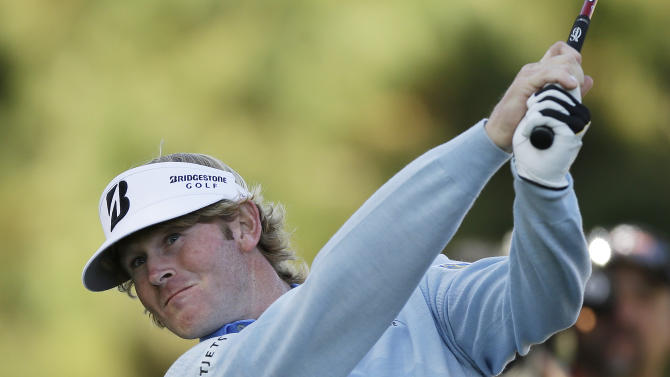 Brandt Snedeker follows his drive from the second tee of the Pebble Beach Golf Links during the final round of the AT&T Pebble Beach Pro-Am golf tournament Sunday, Feb. 10, 2013, in Pebble Beach, Calif. (AP Photo/Ben Margot)
