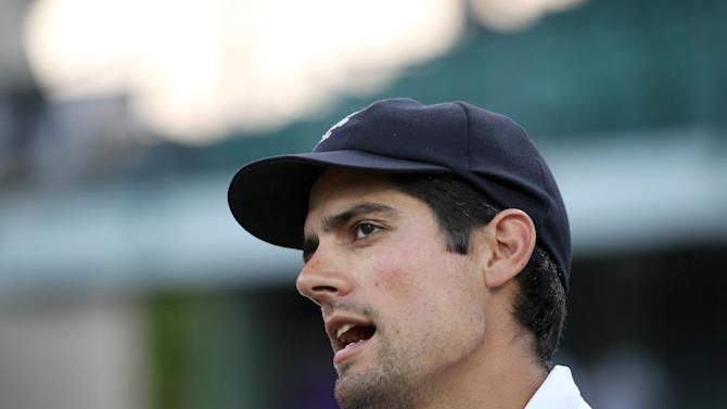 Cricket: England's Alastair Cook talks to the media after the match
