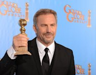Kevin Costner poses in the press room with his Best performance by an actor in a mini-series or motion picture made for television award for &quot;Hatfields & McCoys&quot; at the Golden Globe awards ceremony in Beverly Hills on January 13, 2013