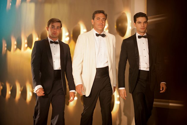 "Christian Cooke as Danny Evans, Jeffrey Dean Morgan as Ike Evans, and Steven Strait as Stevie Evans in ""Magic City."""