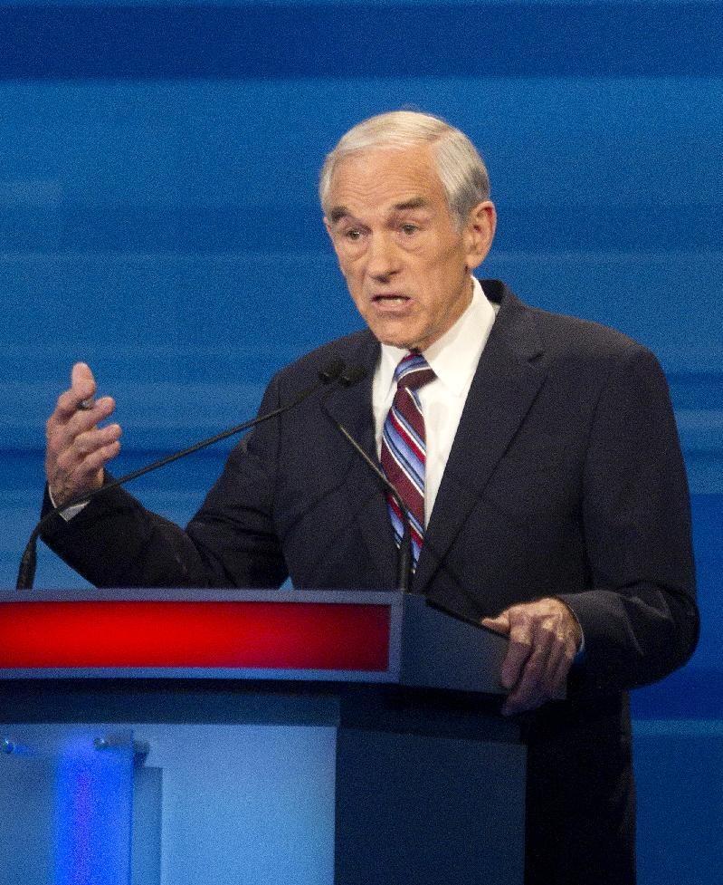 Republican presidential candidate Rep. Ron Paul, R-Texas, speaks during the South Carolina Republican presidential candidate debate Monday, Jan. 16, 2012, in Myrtle Beach, S.C. (AP Photo/David Goldman)