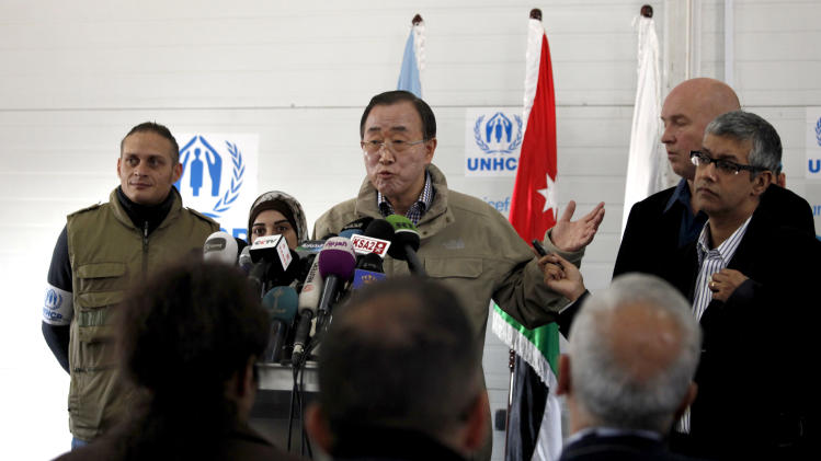 "The United Nations Secretary-General Ban Ki-moon speaks to reporters during a visit to Zaatari Syrian refugee camp, in Mafraq, Jordan, near the Syrian border, Saturday, Dec. 7, 2012. U.N. Secretary-General Ban Ki-Moon on Friday called on the Syrian government to ""stop the violence in the name of humanity"", during a visit to the Zaatari refugee camp in Jordan, close to the Syrian border. (AP Photo/Mohammad Hannon)"