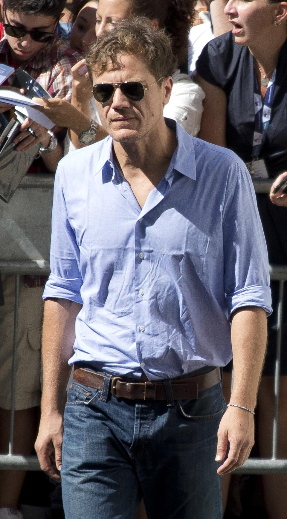 Actor Michael Shannon arrives for the press conference of the film 'The Iceman' during the 69th edition of the Venice Film Festival in Venice, Italy, Thursday, Aug. 30, 2012. (AP Photo/Joel Ryan)