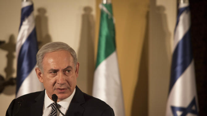 Israeli Prime Minister Benjamin Netanyahu speaks to the media after signing a joint declaration with Italian Prime Minister Mario Monti, not shown, in Jerusalem, Thursday, Oct. 25, 2012. (AP Photo/Dan Balilty, Pool)