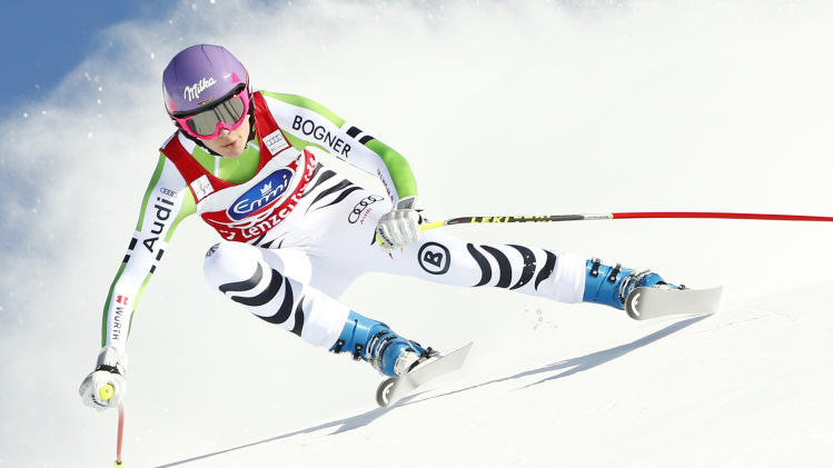 Germany's Hoefl-Riesch skis during the women's downhill event during the FIS Alpine Skiing World Cup finals in the Swiss ski resort of Lenzerheide
