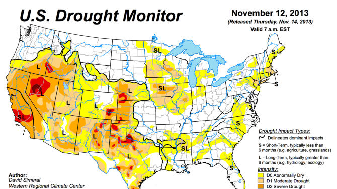This image provided by NOAA shows the U.S. Drought Monitor graphic on the U.S. Drought Portal Thursday Nov. 14, 2013. The U.S. Department of Agriculture and the National Oceanic and Atmospheric Administration will lead the initiative to provide better and more accessible information about matters such as long-term weather prospects and soil moisture levels under a program designed to help communities prepare for future droughts and respond more effectively when they happen, Obama administration officials said Thursday. (AP Photo/NOAA)