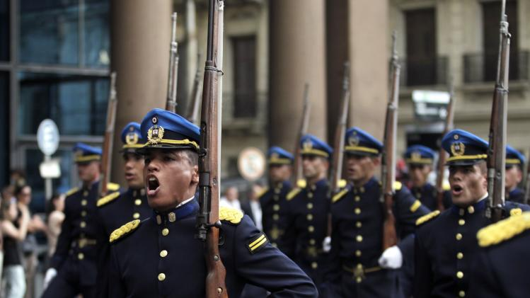 Uruguay's police officers participate in a parade to commemorate the 184th anniversary of the Uruguayan police in Montevideo