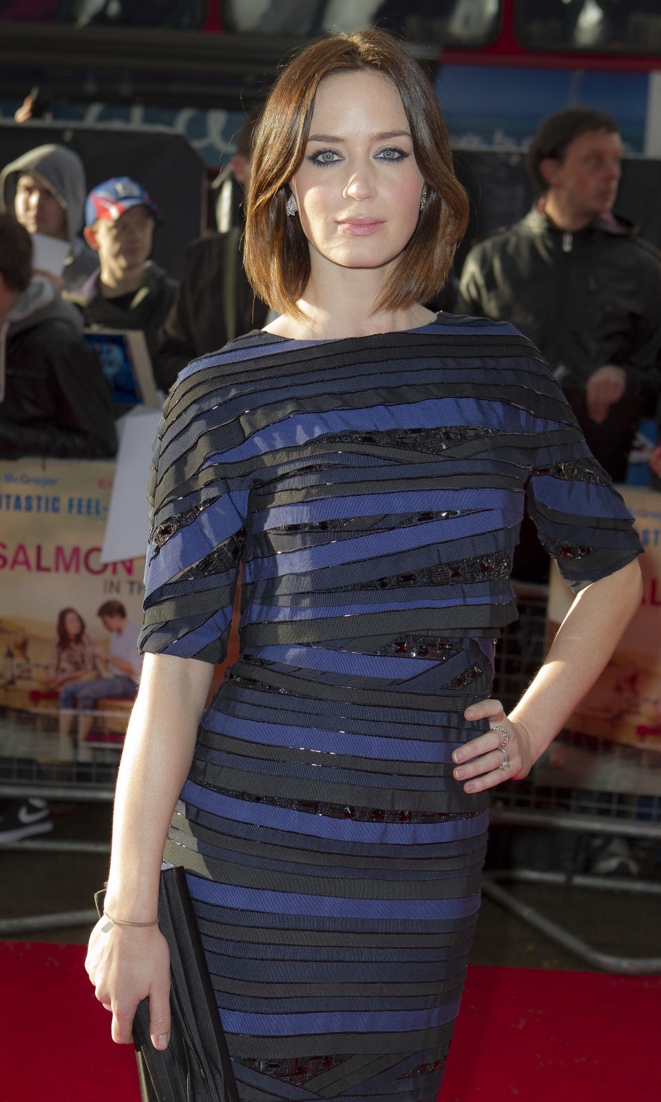 British actress Emily Blunt arrives at the 'Salmon Fishing In The Yemen' European premiere at a west London cinema, Tuesday, April 10, 2012. (AP Photo/Joel Ryan)