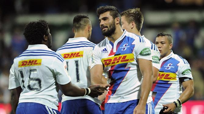 The Western Stormers' players celebrate following win in their Super 15 rugby union match against the Western Force, in Perth, in April 2015