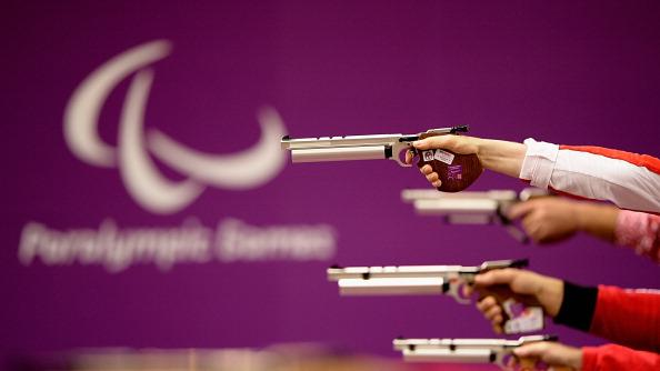 Air pistols during the Men's P1-10m Air Pistol SH1 Finals on day 1 of the London 2012 Paralympic Games at The Royal Artillery Barracks on August 30, 2012 in London, England. (Photo by Dennis Grombkowski/Getty Images)