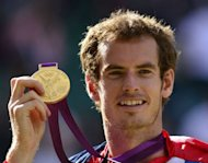 &lt;p&gt;Great Britain&#39;s Andy Murray poses with his gold medal at the end of the men&#39;s singles tennis tournament of the London 2012 Olympic Games, at the All England Tennis Club in Wimbledon, southwest London.&lt;/p&gt;