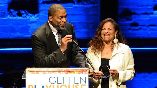 EXCLUSIVE CONTENT - Norm Nixon, left, and Debbie Allen speak on stage during the Backstage at the Geffen gala at the Geffen Playhouse on Monday, May 13, 2013, in Los Angeles. (Photo by Jordan Strauss/Invision for Geffen/AP Images)