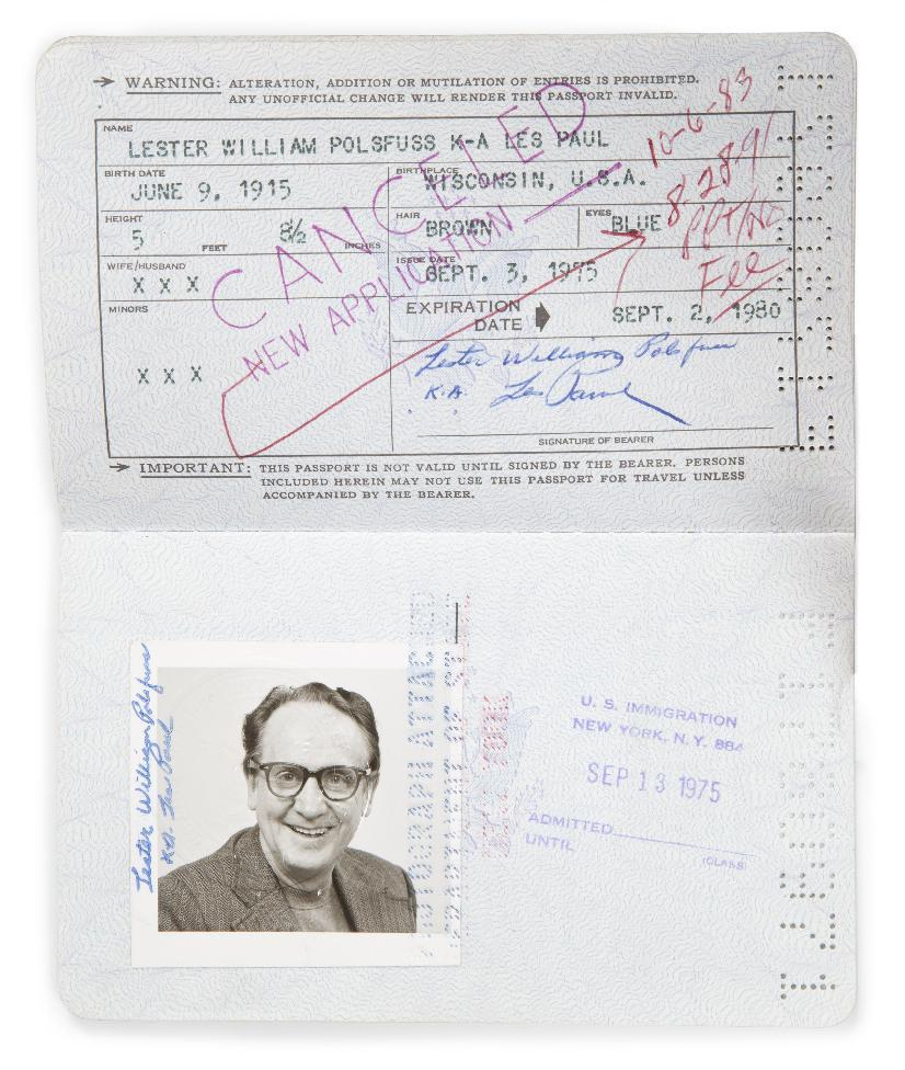 This undated image released by Julien's Auctions shows Les Paul's 1975 original passport. This and other personal items owned by the pioneering musician, including guitars and recording gear, will be up for auction at Julien's Auctions from June 8 to June 10, 2012 in Beverly Hills, Calif. (AP Photo/Julien's Auctions)