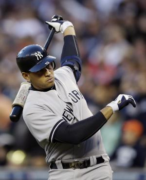 FILE - In this Oct. 18, 2012, file photo, New York Yankees' Alex Rodriguez prepares to hit in the sixth inning during Game 4 of the American League championship series against the Detroit Tigers in Detroit.  Yankees general manager Brian Cashman says it's possible that third baseman Alex Rodriguez could miss the entire season while coming off hip surgery. He made his remarks Friday on WFAN radio in New York. (AP Photo/Matt Slocum, File)