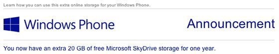 Microsoft gifts 20GB of extra SkyDrive storage to Windows Phone users for a year
