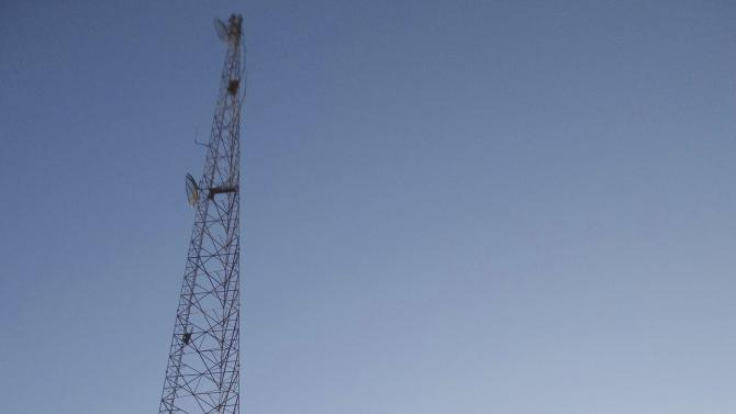A communication tower which Islamist State militants say was damaged after a U.S. drone crashed into it, is pictured in Raqqa