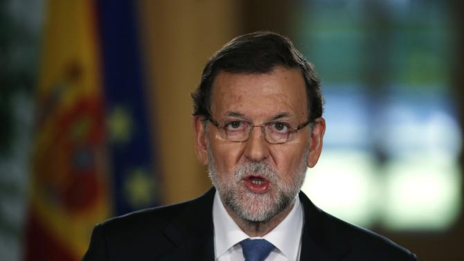 Spanish PM Rajoy speaks during a news conference after the weekly cabinet meeting in Moncloa Palace in Madrid