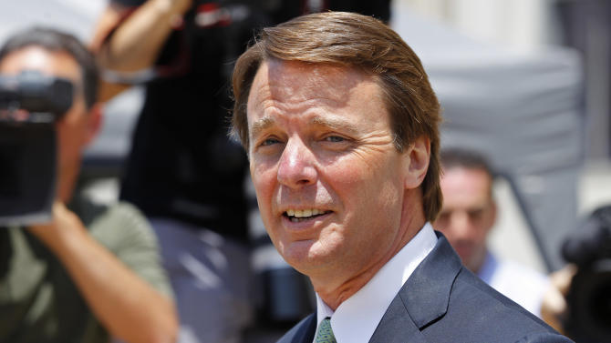 John Edwards leaves a federal courthouse during the ninth day of jury deliberations in his trial on charges of campaign corruption in Greensboro, N.C., Thursday, May 31, 2012. Edwards has pleaded not guilty to six counts related to campaign finance violations over nearly $1 million from two wealthy donors used to help hide the Democrat's pregnant mistress as he sought the White House in 2008. (AP Photo/Chuck Burton)