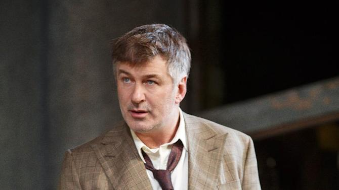 """This theater image released by Boneau/Bryan-Brown shows Alec Baldwin during a performance of """"Orphans,"""" at the Gerald Schoenfeld Theatre in New York. (AP Photo/Boneau/Bryan-Brown, Joan Marcus)"""