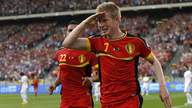 Belgium's Kevin De Bruyne celebrates after scoring against Serbia during their 2014 World Cup qualifying soccer match at the King Baudouin stadium in Brussels June 7, 2013. (Reuters)