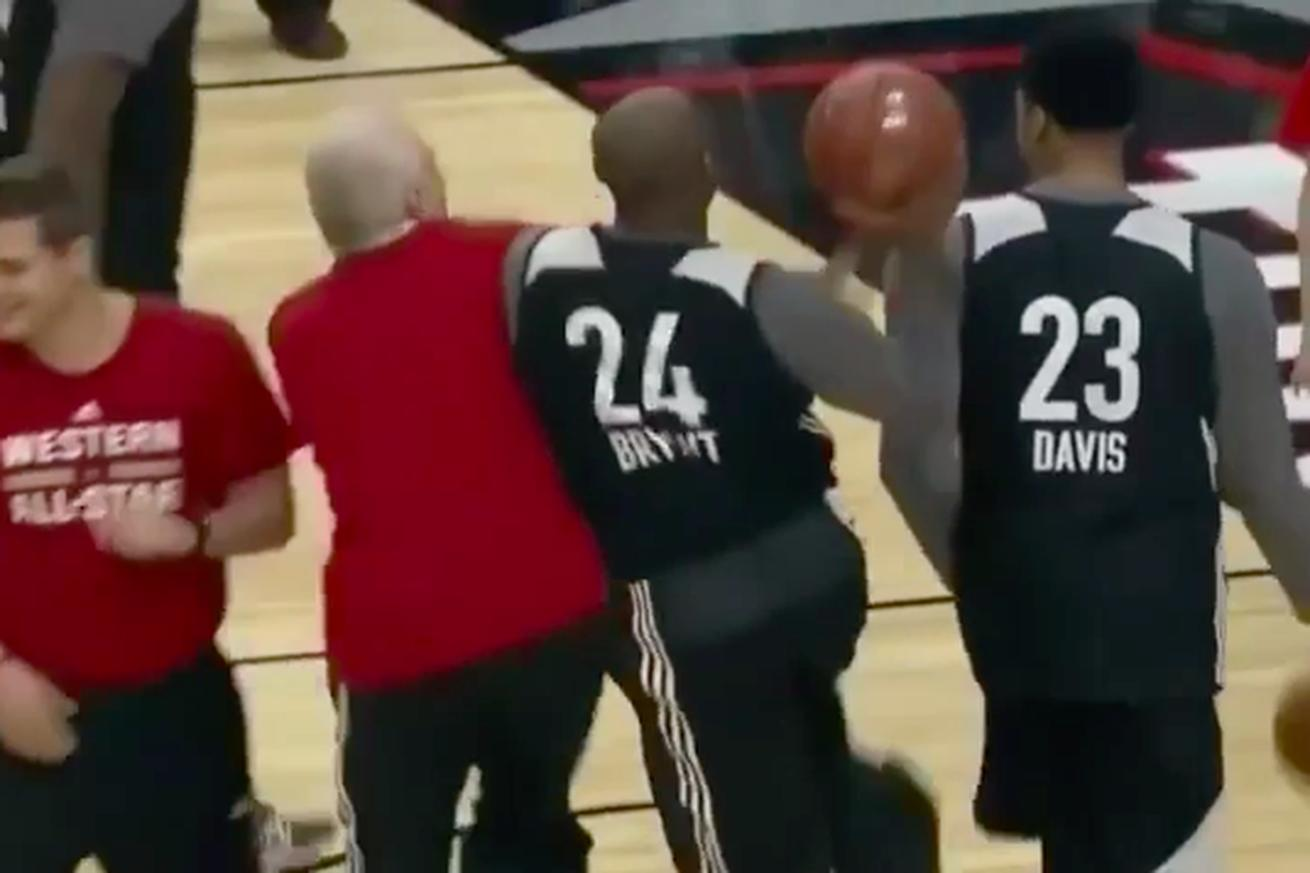 Kobe Bryant is getting ready for his final All-Star Game by getting hacked by Gregg Popovich