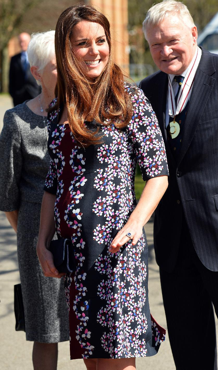 The Duchess of Cambridge arrives at The Willows Primary School, Wythenshawe, Manchester to launch a school counseling programme, Tuesday April 23, 2013. (AP Photo/Paul Ellis, Pool)