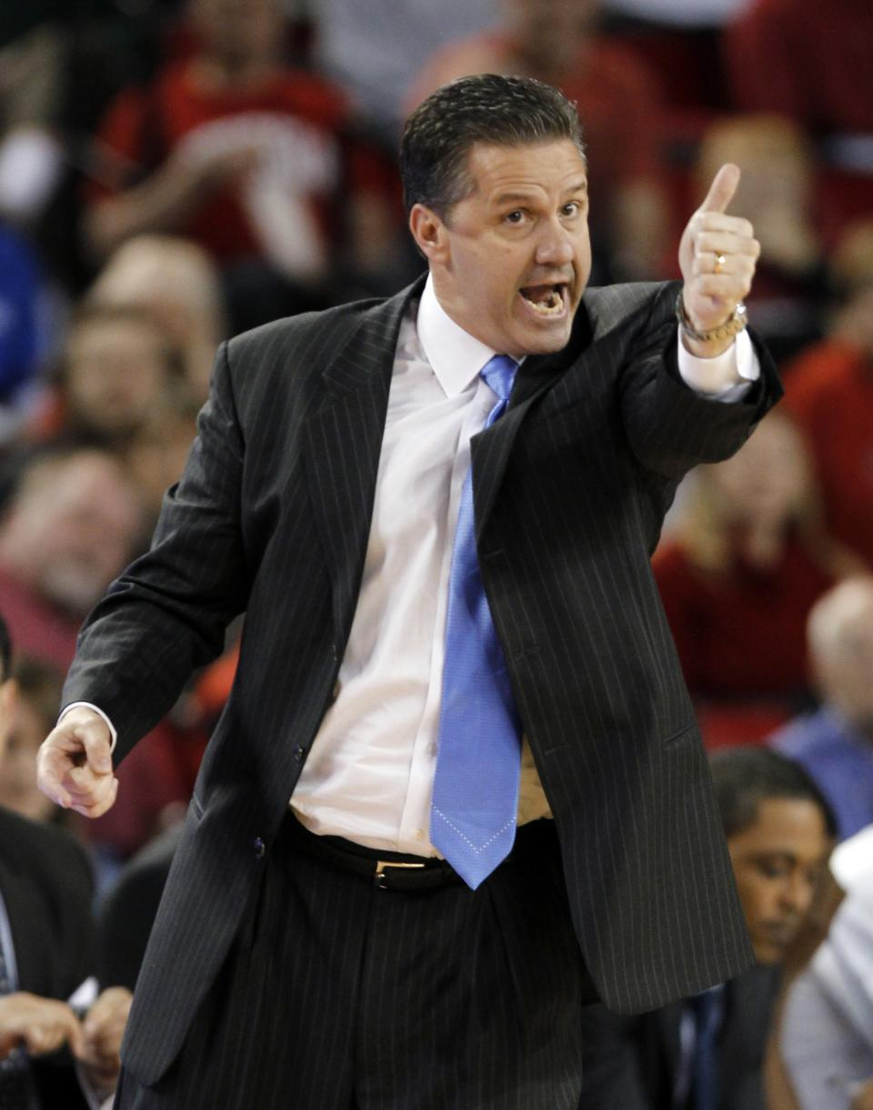 Kentucky coach John Calipari directs his team in the first half of an NCAA college basketball game against Georgia on Tuesday, Jan. 24, 2012, in Athens, Ga. (AP Photo/John Bazemore)