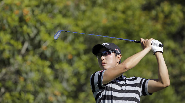 Sang-Moon Bae, of South Korea, drives on the fourth tee in the second round of the Northern Trust Open golf tournament at Riviera Country Club in the Pacific Palisades area of Los Angeles Friday, Feb. 15, 2013. (AP Photo/Reed Saxon)