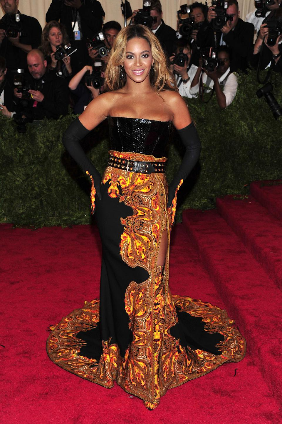"Beyonce attends The Metropolitan Museum of Art's Costume Institute benefit celebrating ""PUNK: Chaos to Couture"" on Monday, May 6, 2013, in New York. (Photo by Charles Sykes/Invision/AP)"