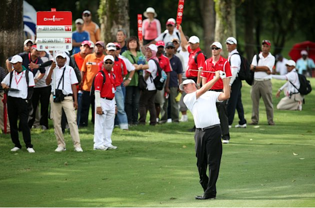 Bo Van Pelt of the US plays a shot during the final round of the CIMB Asia Pacific Classic golf tournament at the Mines Resort and Golf Club in Kuala Lumpur on October 30, 2011. Van Pelt blitzed his w