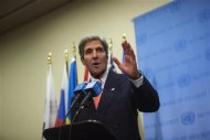 U.S. Secretary of State John Kerry speaks to the media after a meeting of the foreign ministers representing the permanent five member countries of the United Nations Security Council, including Germany, at the U.N. Headquarters in New York September 26, 2013. REUTERS/Eric Thayer