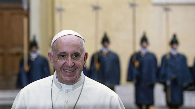 Pope Francis smiles during a private audience with Argentina's President Cristina Fernandez at the Vatican, Sunday, June 7, 2015. (Angelo Carconi/Pool Photo via AP)