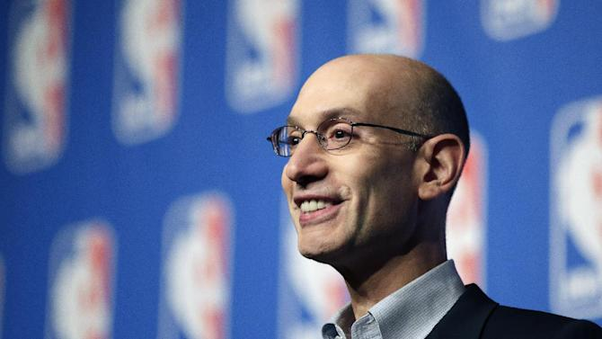 NBA Commissioner Adam Silver speaks at a news conference during the NBA board of governors meeting Tuesday, July 15, 2014, in Las Vegas
