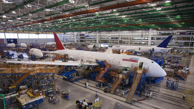 A 787 Dreamliner being built for India Air is pictured at South Carolina Boeing final assembly building in North Charleston in this file photo