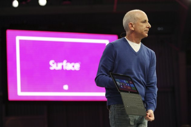 President of the Windows and Windows Live Division Sinofsky holds the new Surface tablet computer during his presentation, as it is unveiled in Los Angeles