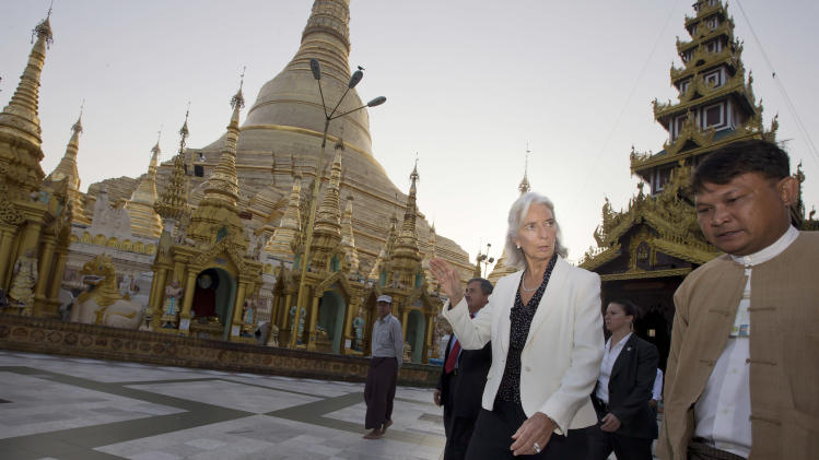 IMF Managing Director Lagarde visits the Shwedagon Pagoda in Yangon