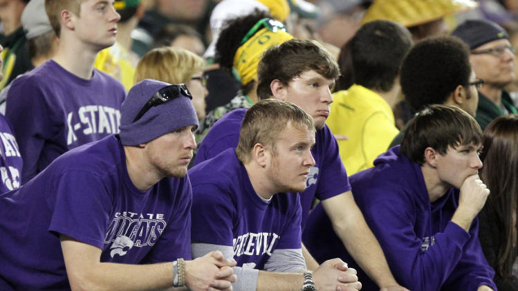 Kansas State fans watch during the second half of the Fiesta Bowl NCAA college football game against Oregon, Thursday, Jan. 3, 2013, in Glendale, Ariz. (AP Photo/Paul Connors)