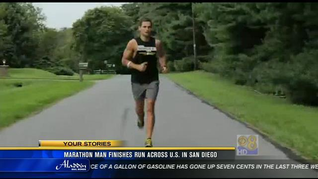 Marathon man finishes run across U.S. in San Diego